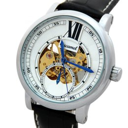hollow man glasses UK - HOT Spiral crown skeleton winner famous design Casual hollow business leather classic men mechanical Automatic wrist army watch A279