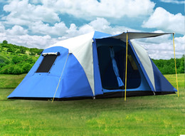 Discount living tents - Half automatic 2 bedroom 1 living room 2 layer aluminum rod anti rain windproof family party fishiing beach outdoor camp