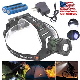 Wholesale 8000LM Headight Tactical T6 T6 LED Headlamp Zoomable 5 Modes SOS 2x Rechargeable 18650 Battery + Charger