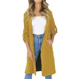 $enCountryForm.capitalKeyWord UK - Trench Coat for Women Winter Outerwear Jumper Fashion Cardigan Long Coat Women Female Windbreaker Open Front Coats