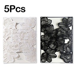 China 5Pcs Design Fold Flower Lace Print laser Wedding Invitations Blank Customizes Convite de casamento Greeting Invitation Cards cheap lace invitation card designs suppliers