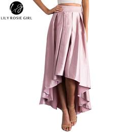 Black Satin Maxi Skirt NZ - Elegant Ruffles Asymmetrical Maxi Long Satin  Skirts Women Autumn Winter 330e8088c