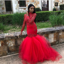 navy crystal evening cover up 2019 - 2018 Black Girls African Long Red Mermaid Prom Dresses Keyhole Long Sleeves Beaded Appliques High Neck Floor Length Gown