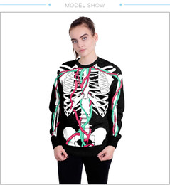Wholesale man hoodies skeleton for sale - Group buy Halloween Skull Skeleton Hoodie Jacket blood Vessel Print Hooded Femme Sweatshirt Casual Men Women Loose Hoodies Coat