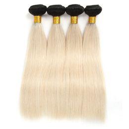Unprocessed Virgin Blonde Hair Wholesale UK - 7A 1b 613# Malaysian Hair Straight Unprocessed Blonde Brazilian Virgin Human Hair 3 4 Bundles Indian Straight Hair Weave