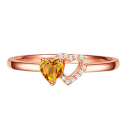 China Fine-plated 925 silver color jewellery unique design natural citrine rose gold heart-shaped ring European and American ladies classic ring suppliers