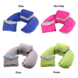 blow up travel neck pillow 2019 - Portable Air Pillow Inflatable U-Shape Neck Blow Up Cushion PVC Flocking Folding Travel Office Plane Pillow MA878813 che
