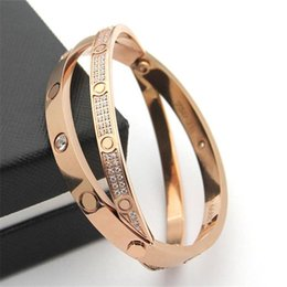 bracelet famous brands NZ - Famous Brand Unisex CZ Bangle Luxury Design Screwdriver Screw Bracelets Fashion Men Women Bangles High Quality 316L Titanium Steel Bracelet