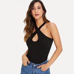 girl sexy shirts UK - Keyhole Criss Cross Neck Black Top Shirt New Summer Slim Fit Casual Women Tank Top Stretchy Girls Sexy Camisole