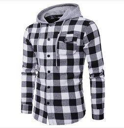 5c66dc8f09c Men Casual Plaid Shirt Cotton Long Sleeve Men Hooded Denim Shirt Slim Fit  Men Dress Shirts Male Jeans Shirts Camisa Masculina Classic Hot