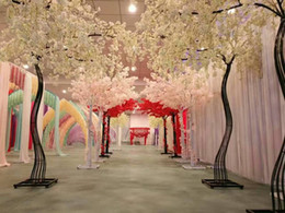 Flowers trees online shopping - 2 M height white Artificial Cherry Blossom Tree road lead Simulation Cherry Flower with Iron Arch Frame For Wedding party Props