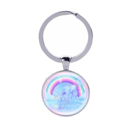 $enCountryForm.capitalKeyWord UK - Unicorn Key Chains Glass Cabochon Horse Key Rings Car Key Bag Accessories Gifts Wholesale Free Ship