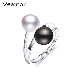 9mm Pearl Size Australia - VEAMOR Ring New Brand Fashion Jewelry 925 Sterling Silver Rings For Women Pearl Size 8-9mm Female Party Finger Ring Engagement Y18102610