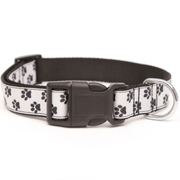 quick release collar NZ - Nylon Dog Collar Adjustable Dog Footprints Printed Quick Release Puppy Collar for Small Medium and Large Dogs