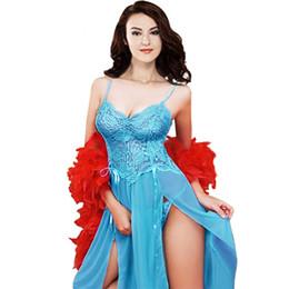 2d940eaf09 Plus Size Long Women Summer Night Dress Sexy Lace Nightwear High Split Nightgown  Sleepwear For 4 Colors