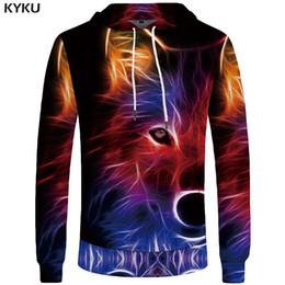 Hoodie Clothes Canada - KYKU Wolf Hoodies Mens 3d Hoodies Luminous Big Size Hoddie Colorful Sweatshirt Animal Sweatshirts Men Clothing Cool 2018