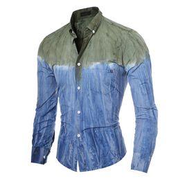 China Fashion Slim Fit Denim Shirts Men Casual Clothing Long Sleeve Man Dress Fashion Soft Patchwork Shirt supplier denim collar dress suppliers