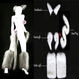 White Tail Cosplay Australia - White Sexy Faux Fox Tail Hand Cuffs Ankle Cuffs Headband Cosplay Set Anal Plug Silicone Butt Plug Sex Toys Adult Games