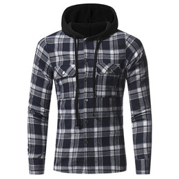 China Plus Size Mens Hoodie Plaid Streetwear for Men Fashion Casual Clothes Long Sleeve Cardigan Shirt Clothing with Pocket M L XL XXL XXXL cheap cotton cardigans plus size suppliers