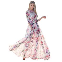 41dc0dc71dd Womens Floral Printing Three Quarter Sleeve Evening Party Beach Long Maxi  Dress 2018 beach summer dresses Floral print vestidos