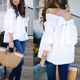 6ad95c199e1a Summer White Elegant Women Blouses Shirts Sleeve Bow Slash Neck Off  Shoulder Tops Casual Loose Blusas