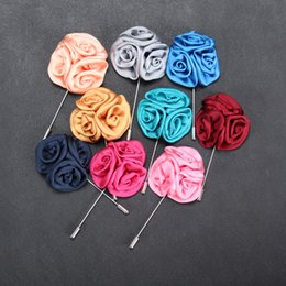stick pin for suit Australia - 15 Color Classic Men Flower Brooch Pins Fashion Imitated Silk Fabric Boutonniere Stick Lapel Pin For Suit Party Wedding Jewelry