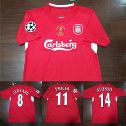 612348ee23b 04 05 Final Istanbul Retro Soccer Jersey  8 Gerrard Steven 2005 Smicer  Alonso Hamann Champion Football Shirts Vintage Calcio MAGLIA Maillot