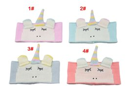 Knitted hair accessories for babies online shopping - Unicorn wool hair band baby headband cute knit earmuffs baby warm hair accessories for different colors