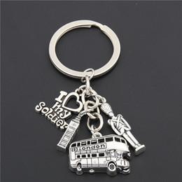 $enCountryForm.capitalKeyWord NZ - 1pc London Bus Keychain Big Ben Charms I Love My Soldier Key Chains Army Navy Airforce England Gift E1661