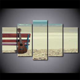 beach canvas print framed UK - HD Printed 5 Piece Canvas Art Guitar Painting Vintage Beach Framed Modular Wall Pictures for Living Room Free Shipping CU-2363B