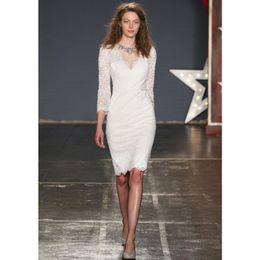 3a00a97786259 Nouvelle arrivée strass perles blanc dentelle robe d'été o-cou trois-quarts  manches genou longueur crayon bodycon robes pour femmes