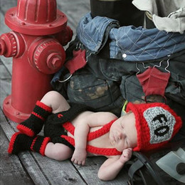 Discount fireman clothes - Red&black Color Infant Baby Boy Crochet Firefighters Photography Props Newborn Fireman Outfits Baby Crochet Clothing