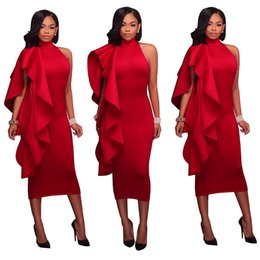 Red sexy midi paRty dRess online shopping - Women New Casual Sexy Elegant Dresses Solid Color Irregular Flouncing Off the Shoulder High Waist Party Club Dresses Midi Bodycon Dress