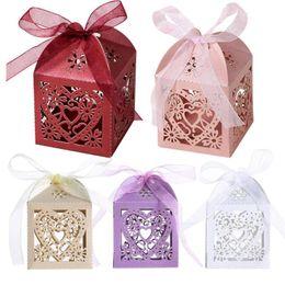 Wholesale Heart Candy Boxes Australia - 50Pcs Love Heart Laser Cut Candy Gift Boxes