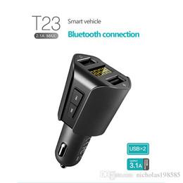 SamSung handSetS online shopping - T Series Speakerphone FM Transmitter Dual USB T23 Car Charger Car MP3 Music Player U Disk Player Car Bluetooth Handset free Hearing Kit