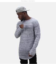 t shirt long hand men 2019 - Extend hip hop street T-shirt wholesale fashion brand men long sleeve oversize design hold hand hole thumb tops cheap t