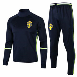 $enCountryForm.capitalKeyWord NZ - 2018 Sweden tracksuit Soccer Jacket with Pants Soccer Jogging Training suit 2017 18 Survetement Sweden soccer uniforms set