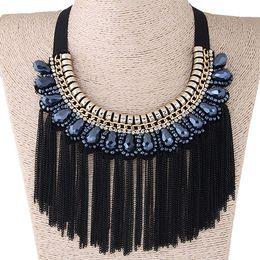e60ac4e8005c 2018 Collier Femme Jewelry Black Chain Cadena Gargantilla Collares Mujeres  Collares Borla Collares Colgantes Maxi Colar Necklace
