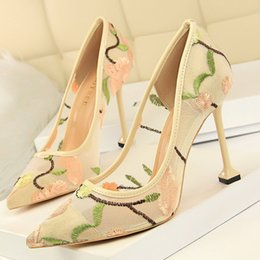 Discount delivery flowers - New European and American style super high with shallow mouth pointed bud silky openwork sexy nightclub shoes fast deliv