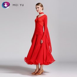 evening women costume 2018 - MEI YU -50 Modern Dance Costume Women Ladies Waltzing Tango Dancing Dress Ballroom Costume Evening Party Dress with Neck