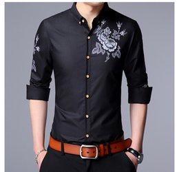 fashion designing mens wear 2018 - New Fashion Design Spring Casual Wear Mens Shirts Long Sleeve Turn-down Collar Floral Print Bussiness Shirts Slim Fit Ma