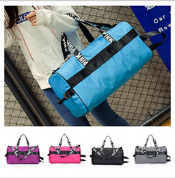travel laptop cases 2018 - Women Handbag Pink Letter Print Travel Duffle Bag Large Capacity Waterproof Striped Sports Gym Yoga Beach Shoulder Bags