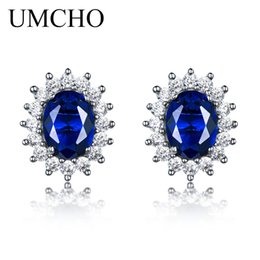 $enCountryForm.capitalKeyWord NZ - UMCHO Luxury 925 sterling silver earrings 6*8mm Created Blue Sapphire Wedding Party Jewelry Brand Fine Jewelry Earrings For Wome Y18110110