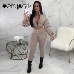 $enCountryForm.capitalKeyWord NZ - BerryPark Thicken Space Cotton Sport 2 Piece Set 2019 Women Short Jacket Coat and Pants Suit Tracksuit Outdoor in Winter Clothes