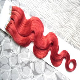Discount tape hair extensions body wave - Red Tape In Human Hair Extensions 100% Remy Hair 100g 40pcs Body Wave Salon Remy Hair On Adhesives Tape PU Skin Weft Inv
