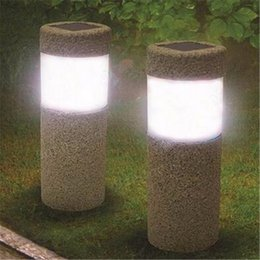 Solar Power Stone Pillar White LED Solar Lights Outdoor Garden Light Prato Lampada cortile Decorazione lampada Illuminazione