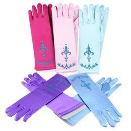 Ingrosso 9 colori bambini guanti dito pieno per Halloween Christmas Party Snow Queen Guanti Costume Cosplay bambini Anime Guantoni Incoronazione B