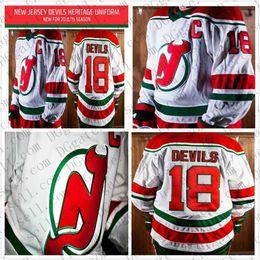 6b29295e4 2019 2018 New Jersey Devils Mens 9 Taylor Hall 18 Kyle Palmieri Nico  Hischier New Retro Heritage Uniform Hockey Jerseys Red Green Stitched