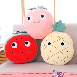 Wholesale Free Dropshipping cm New Simulation Cartoon Fruit Plush Pineapple Toy Pillow Home Decor Watermelon Pillow Fluffy Toy