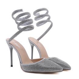 1421dcb31bcb New Fashionl Women High Heel pointedToe gladiator Catwalk show style sandals  Snake type winding rhinestone sandals Lady party shoes big size